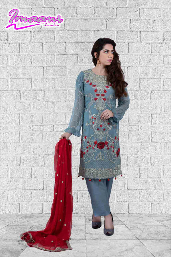 KC 174 Grey  Colour Embroidered Ready to Wear Chiffon 3Pcs Suit