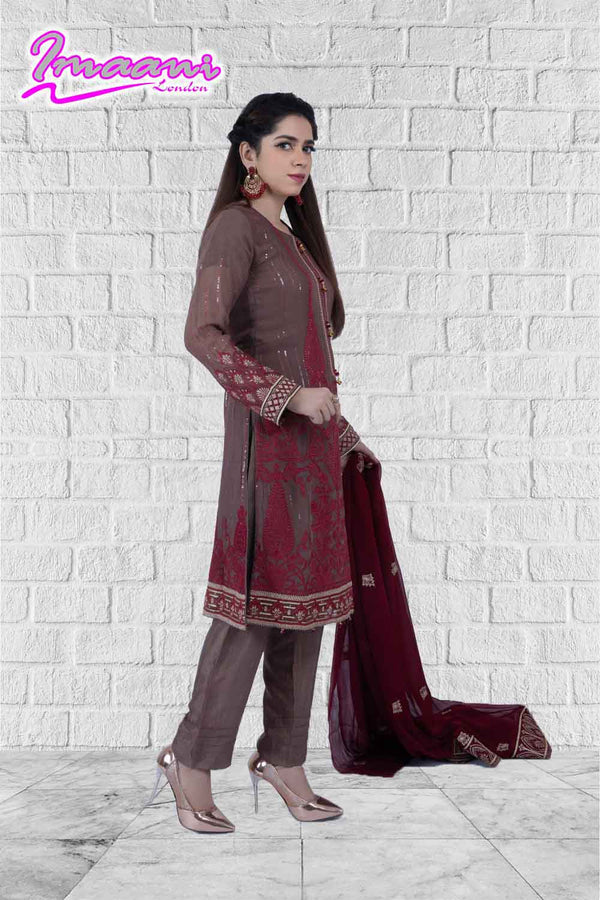 KC175 Brown Colour Embroidered Ready to Wear Chiffon 3Pcs Suit