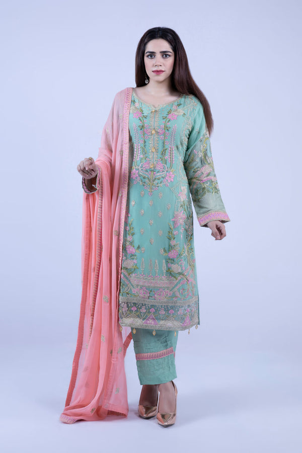 KC177 Green Colour Embroidered Ready to Wear Chiffon 3Pcs Suit
