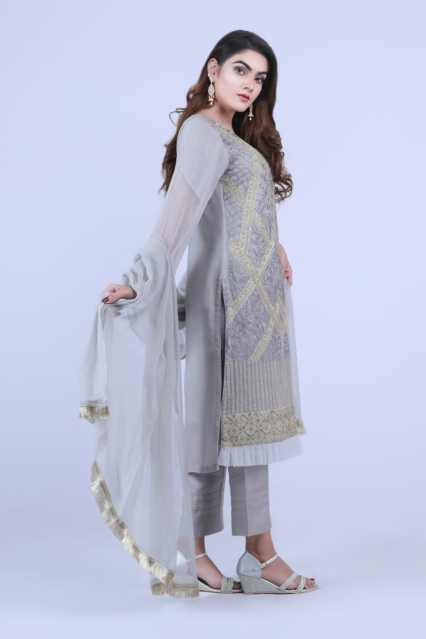 KC178 Grey Colour Embroidered Ready to Wear Chiffon 3Pcs Suit