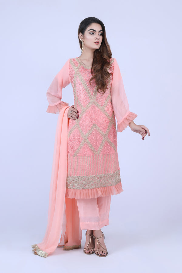KC179 Pink Colour Embroidered Ready to Wear Chiffon 3Pcs Suit