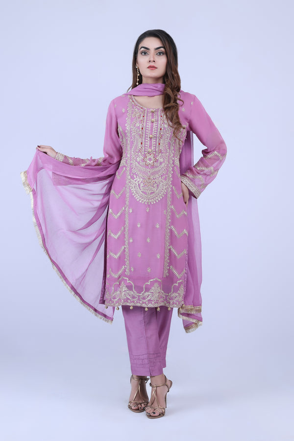 KC180 Purple Colour Embroidered Ready to Wear Chiffon 3Pcs Suit