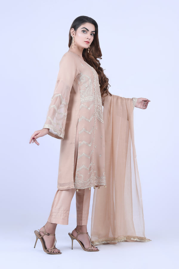 KC181 Beige  Colour Embroidered Ready to Wear Chiffon 3Pcs Suit