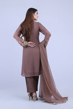 KC 182 Brown Colour Embroidered Ready to Wear Chiffon 3Pcs Suit
