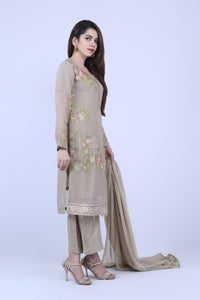 KC 183 Beige Colour Embroidered Ready to Wear Chiffon 3Pcs Suit