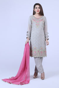 KC 184 Grey Colour Embroidered Ready to Wear Chiffon 3Pcs Suit