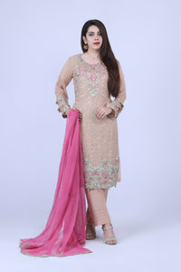 KC 185 Beige Colour Embroidered Ready to Wear Chiffon 3Pcs Suit