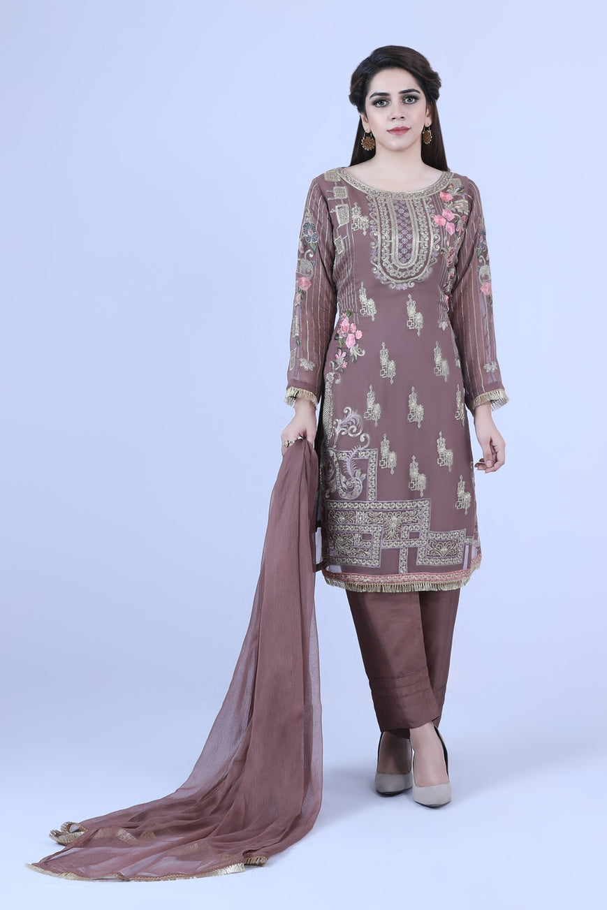 KC 186 Brown  Colour Embroidered Ready to Wear Chiffon 3Pcs Suit