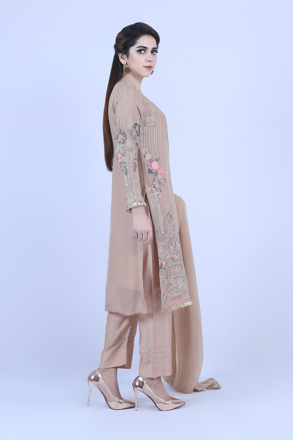 KC 187 Beige Colour Embroidered Ready to Wear Chiffon 3Pcs Suit