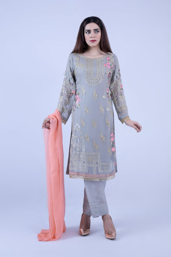 KC 188 Grey Silve Colour Embroidered Ready to Wear Chiffon 3Pcs Suit