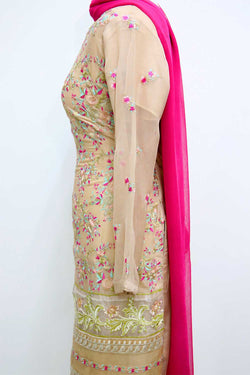 KC 37  Beige Embroidered Ready to Wear Chiffon 3Pcs Suit