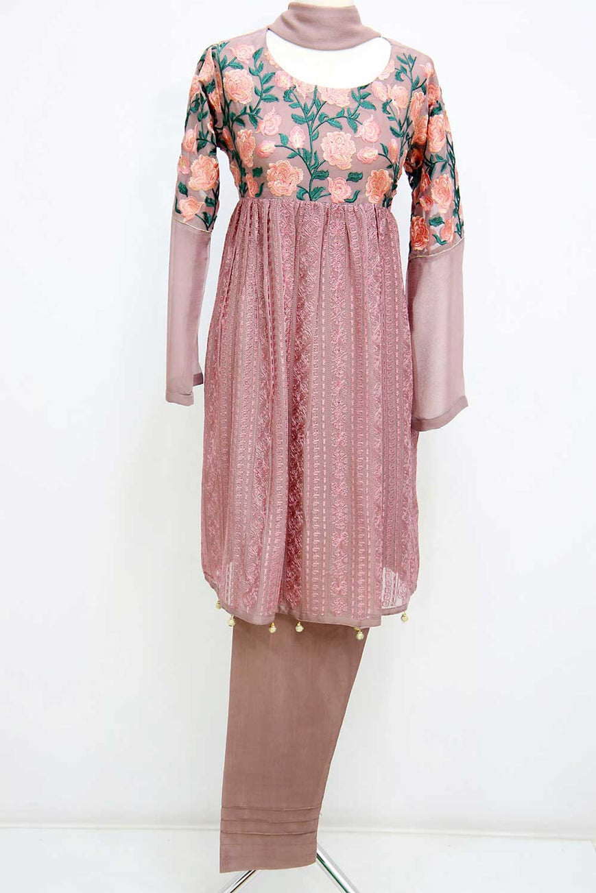 KC 41 Tea Pink Embroidered Frock Ready to Wear Chiffon 3Pcs Suit