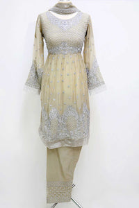 KC 49 Beige Embroidered Frock Suit