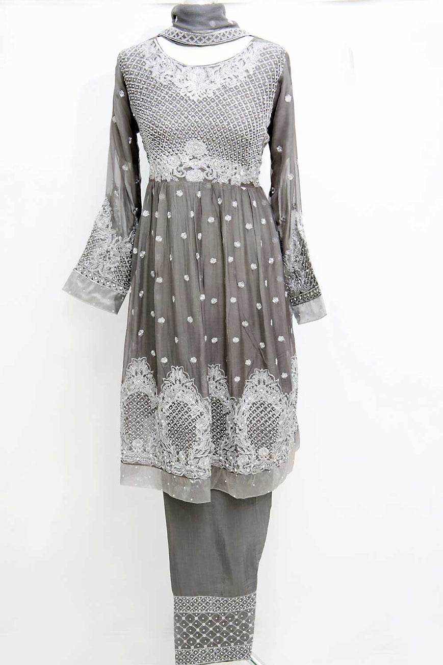 KC 51 Grey Embroidered Frock Ready to Wear Chiffon 3Pcs Suit