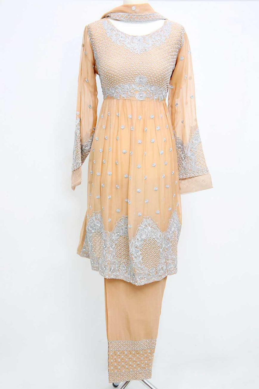 KC 52 Light Peach  Embroidered Frock Suit