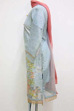KC 67  Grey Embroidered Ready to Wear Chiffon 3Pcs Suit