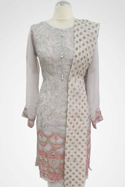 KC 145 Grey Colour Embroidered Ready to Wear Chiffon 3Pcs Suit