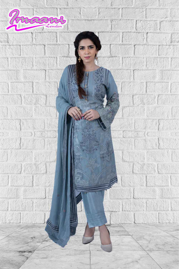 KC176 Grey Colour Embroidered Ready to Wear Chiffon 3Pcs Suit