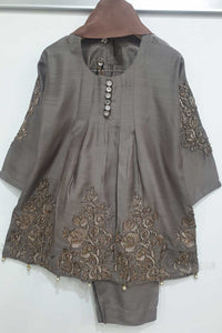 KK 01 Dusty Grey Embroidered Frock Suit
