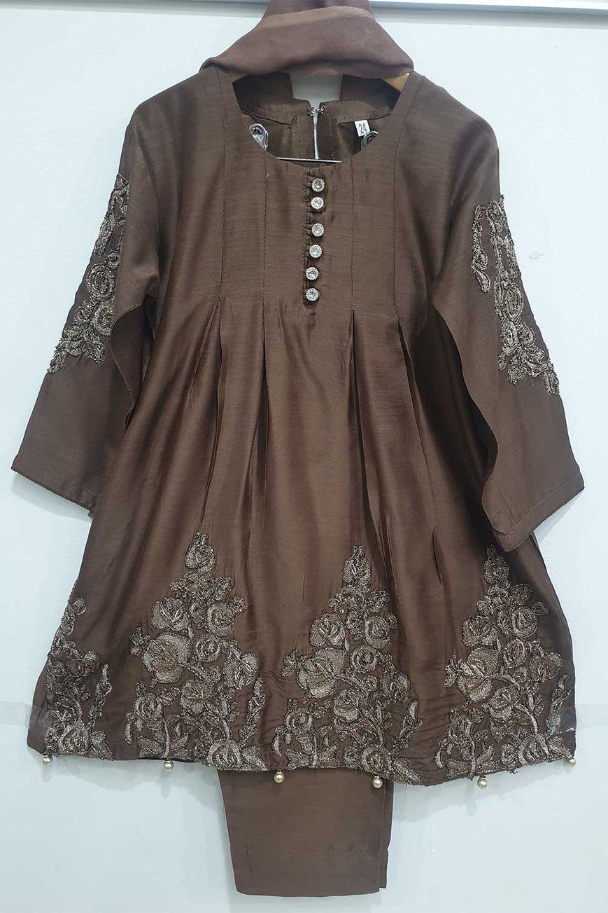 KK02 Brown Embroidered Frock Suit