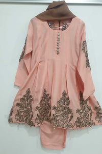 KK03  Pink Embroidered Frock Suit