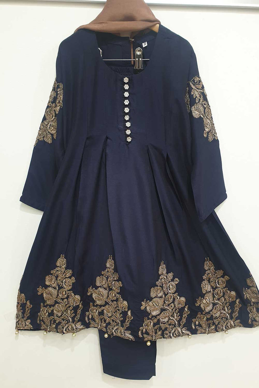 KK 04  Blue  Embroidered Frock Suit