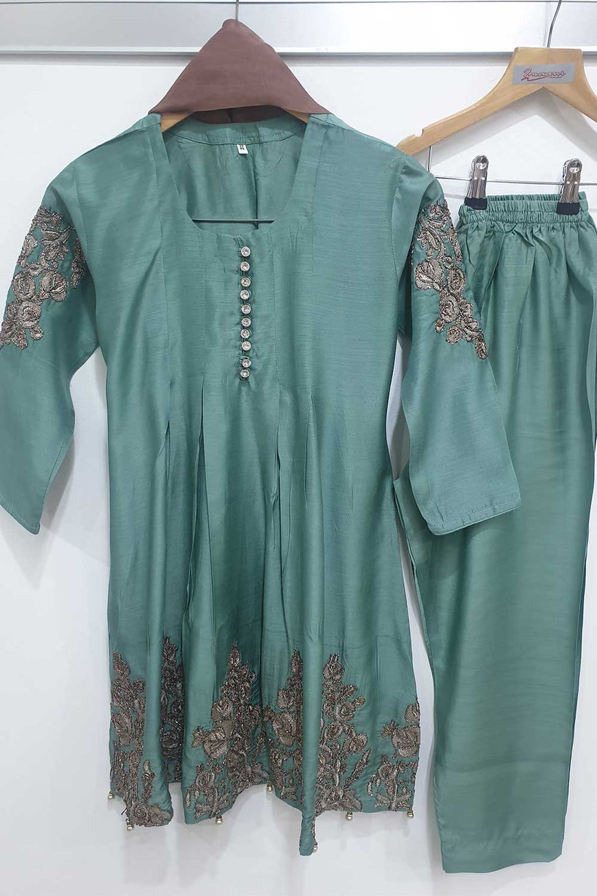 KK 06 Dusty Green Embroidered Frock Suit