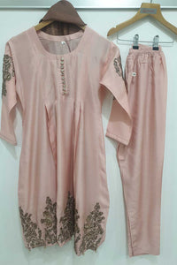KK 08 Baby Pink Embroidered Frock Suit