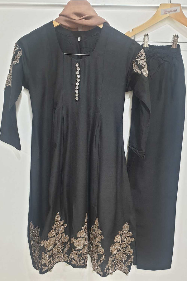 KK 09 Black Pink Embroidered Frock Suit