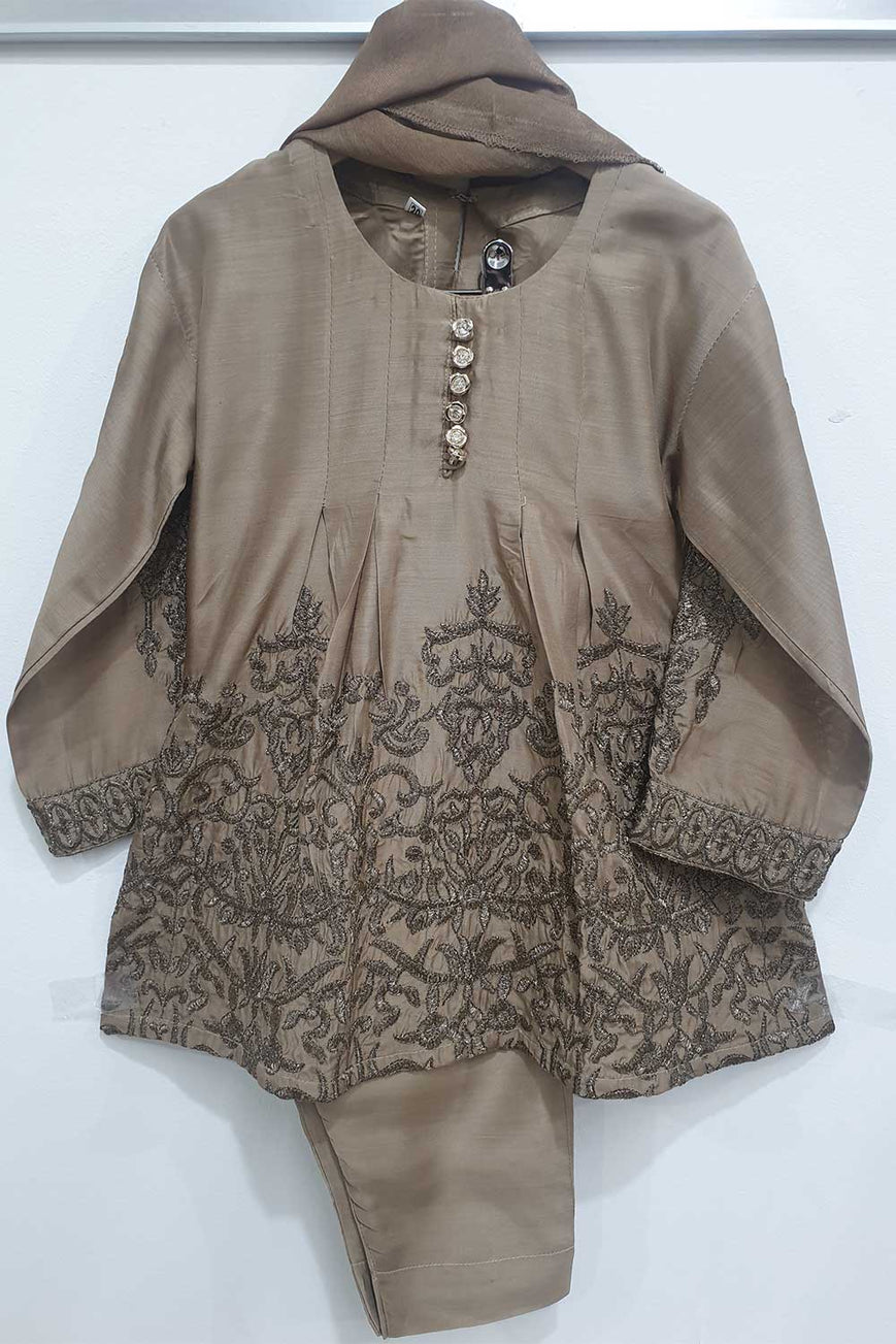 KK 10 beige Embroidered Frock Suit