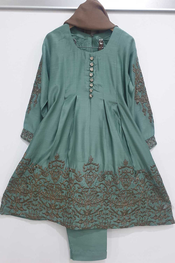 KK 13 Dusty Green Embroidered Frock Suit