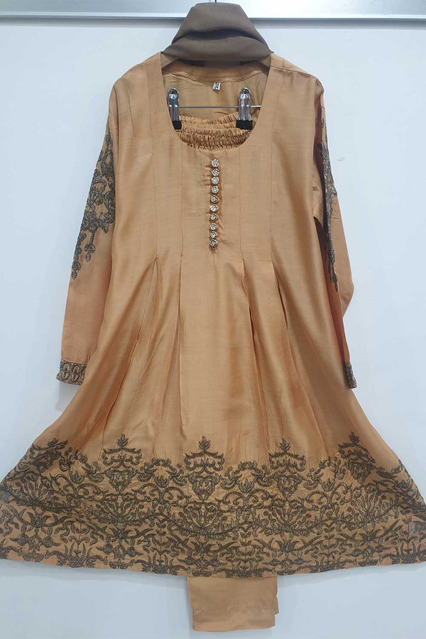 KK 15 Light Mustard  Embroidered Frock Suit