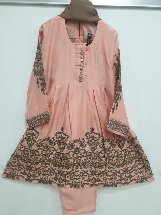 KK 12 Pink  Embroidered Frock Suit