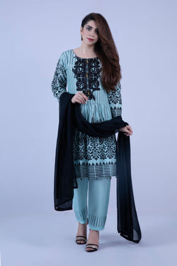 KVS 135 Ferozi and Black Colour Frock Style Viscose Silk Embroidered Ready to Wear 3Pcs Suit with Chiffon Dupatta