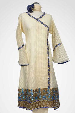 (LM 36) Embroidered Cotton Net Cream Colour Ready to Wear 3Pcs Suit with Chiffon Dupatta