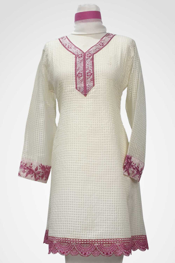 (LM 37) Embroidered Cotton Net White Colour Ready to Wear 3Pcs Suit with Chiffon Dupatta