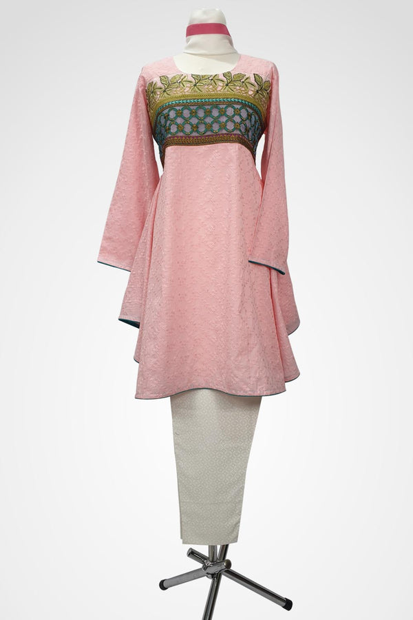 (LM 38) Embroidered Cotton Chicken Pink Colour Ready to Wear 3Pcs Suit with Chiffon Dupatta
