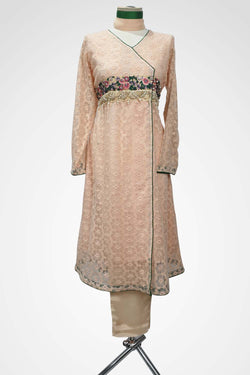(LM 40) Embroidered Cotton Chicken Pink Colour Ready to Wear 3Pcs Suit with Chiffon Dupatta