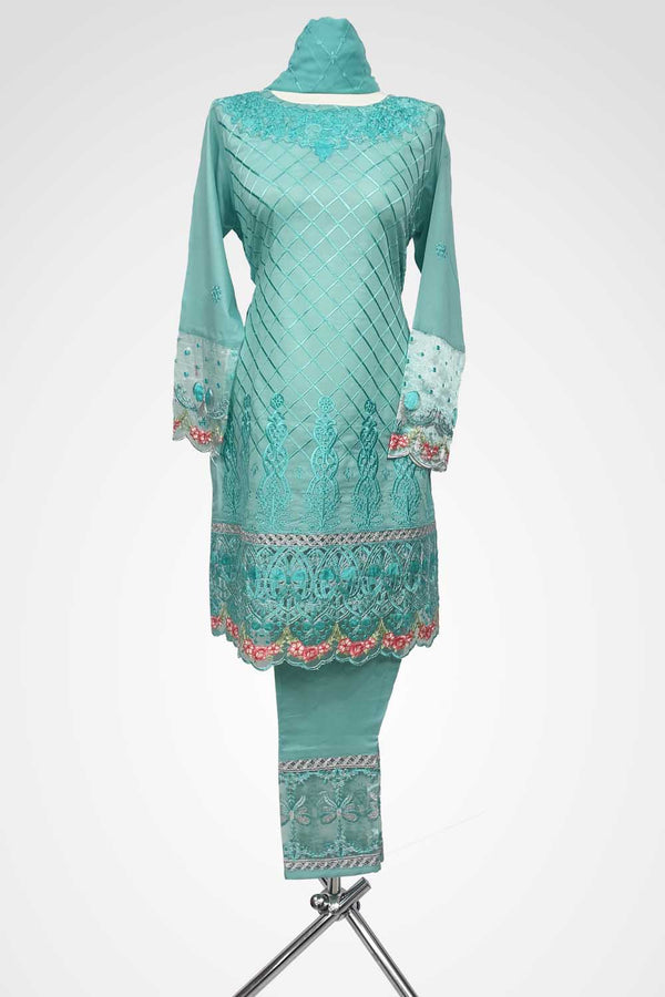(LM 41) Embroidered Lawn Fabric Light Turquoise Colour Ready to Wear 3Pcs Suit with Chiffon Dupatta