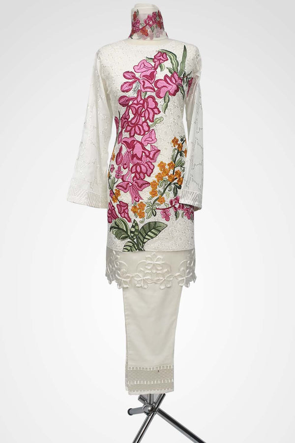 (LM 45) Embroidered Lawn Chicken Fabric White Colour Ready to Wear 3Pcs Suit with Chiffon Dupatta