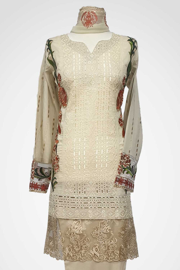 (LM 46) Embroidered Lawn Chicken Fabric Beige Colour Ready to Wear 3Pcs Suit with Chiffon Dupatta