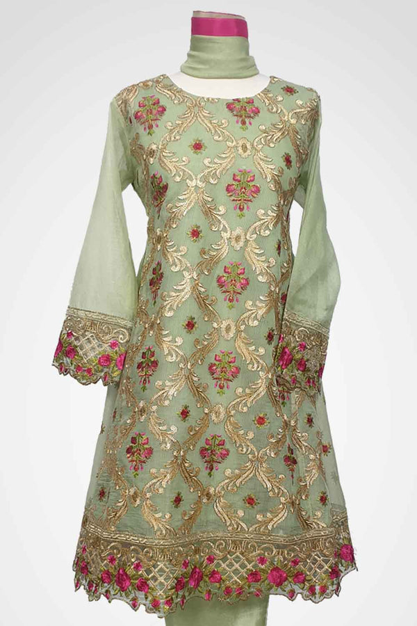 (LM 47) Embroidered Cotton Net Frock Style Fabric Green Colour Ready to Wear 3Pcs Suit with Chiffon Dupatta