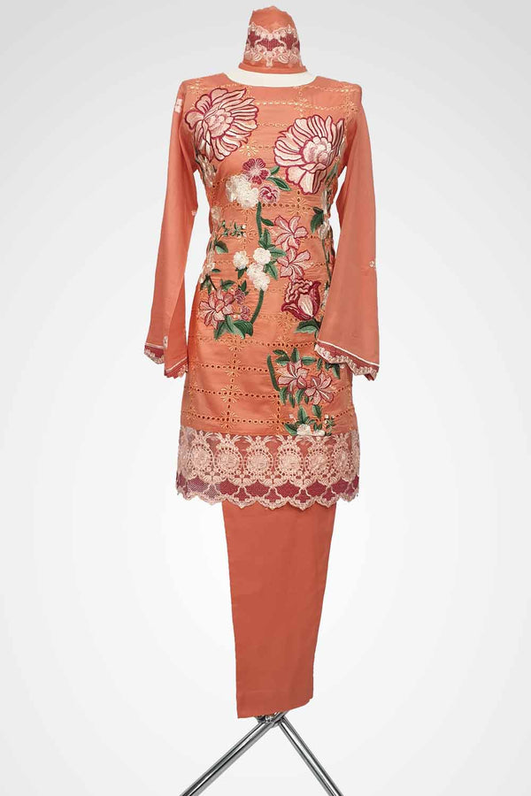 (LM 50) Embroidered Lawn Chicken Fabric Orange Colour Ready to Wear 3Pcs Suit with Chiffon Dupatta