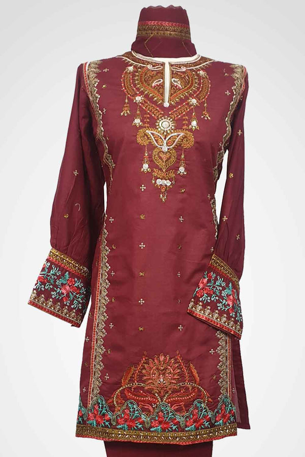 (LM 53) Embroidered Lawn Fabric Maroon Colour Ready to Wear 3Pcs Suit with Chiffon Dupatta