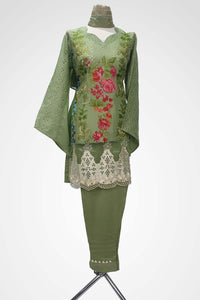 (LM 49) Embroidered Lawn Chicken Fabric Green Colour Ready to Wear 3Pcs Suit with Chiffon Dupatta