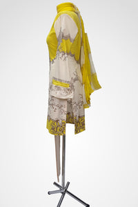 (LM 48) Embroidered & Printed Lawn yellow & Cream Ready to Wear 3Pcs Suit with Chiffon Dupatta Printed