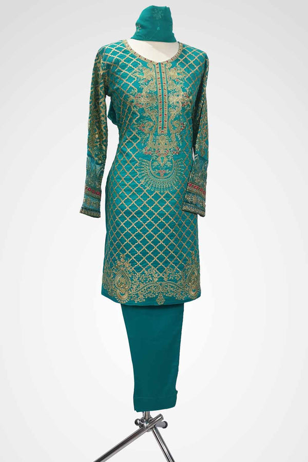 (LM 54) Embroidered Lawn Fabric Sea Green  Colour Ready to Wear 3Pcs Suit with Chiffon Dupatta