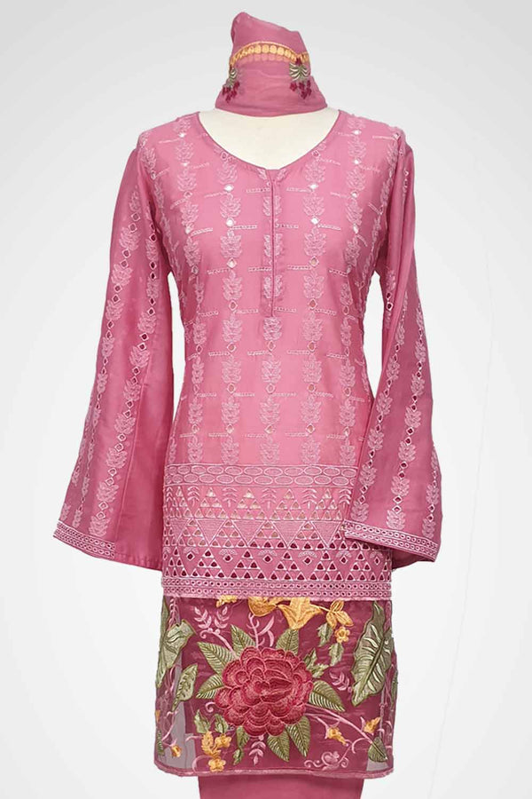 (LM 51) Embroidered Lawn Chicken Fabric Pink Colour Ready to Wear 3Pcs Suit with Chiffon Dupatta