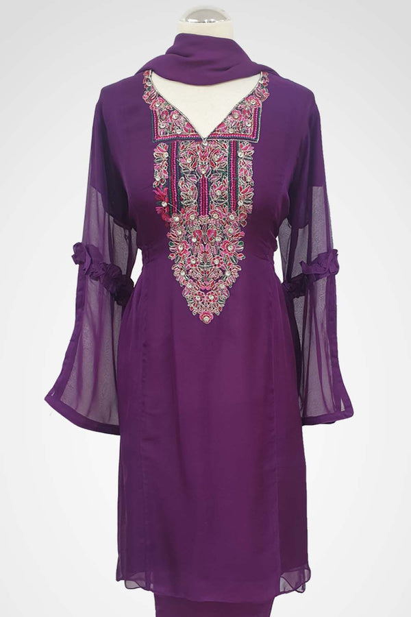 MU-01 Purple Colour Embroidered Ready to Wear Chiffon 3Pcs Suit