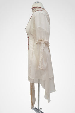 MU-02 Cream Colour Embroidered Ready to Wear Chiffon 3Pcs Suit
